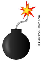 explosive bomb with burning fuse - ready to explode