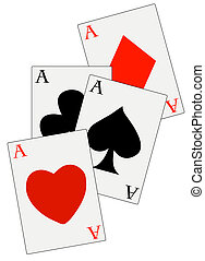 poker deck with four aces in all suits