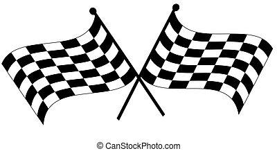 dois, cruzado, checkered, Bandeiras