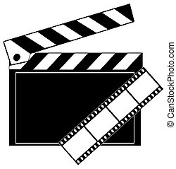 movie film strip and clapboard in black and white
