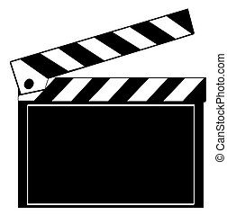 black and white clapboard isolated on white