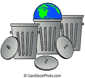 déchets, boîtes, -, une, tenue, La terre