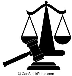 scales of justice silhouette - judges gavel and scales of...