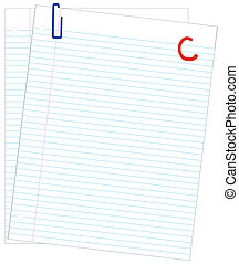 two sheets of lined paper graded with a C