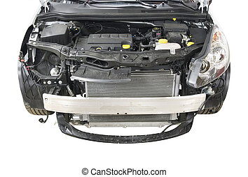 car repair - dismantled front of a car over white background