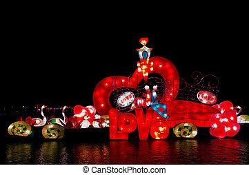 Love lanterns in Chinese Lantern Festival celebration