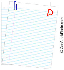 failing mark or grade - lined paper marked with D- - failing...