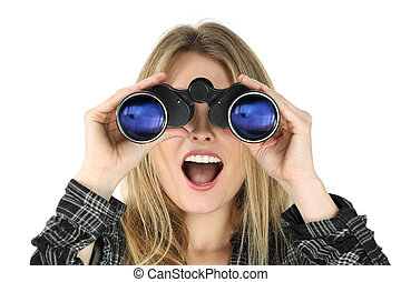 Woman with binoculars looking shocked - Photo of a beautiful...