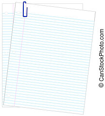 two sheets of lined paper with blue paper clip