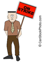 business man on strike sign - picketing