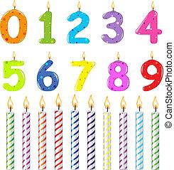 aniversário, velas, de, diferente, forma