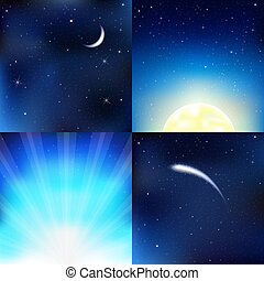 Dark Blue Sky - 4 Dark Blue Sky, With Moon, Stars And Beams,...