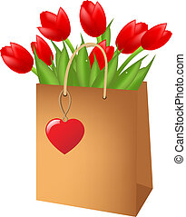 Red Tulips In Package, Isolated On White Background, Vector...