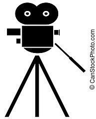 movie camera on white background - black silhouette of movie...
