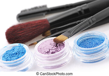 Eye shadows and brushes - Set of powder eye shadows in jars...