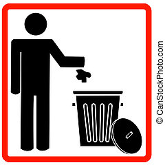throwing garbage into a trash can - figure of person...