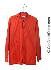 Creased the orange shirt on a hanger