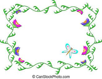 Frame of Green Vines and Flowers