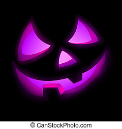 Isolated glowing pumpkin on black. EPS 8 vector file...