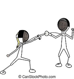 Fencing - Vector illustration of girl and boy fencing