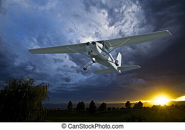 Single Engine Airplane - A single engine plane takes off in...
