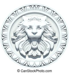 Vintage Lion Head Sculpture Vector - Vintage lion head...