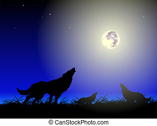 Wolfs and moon - Vector wolfs and moon