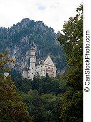 Castle Neuschwanstein - Bavarian castle Neuschwanstein in a...