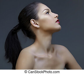 beautiful woman with ponytail - beautiful woman with long...