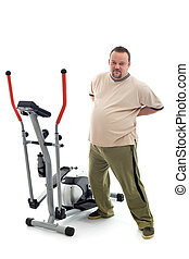 Overweight man stretching his back near a trainer device