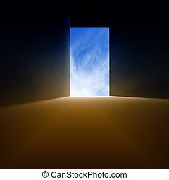 The exit - Open doorway, bright light from blue sky