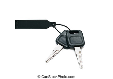 Bunch of car keys isolated on white background