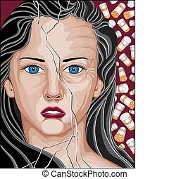 Prescription Drug Addicted Woman - Illustration of a...