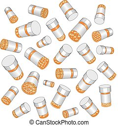 Prescription Drug Bottles - Illustration of prescription...