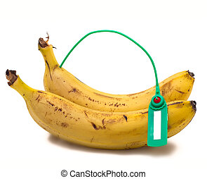 Banana Transportation - Banana with a label on a white...