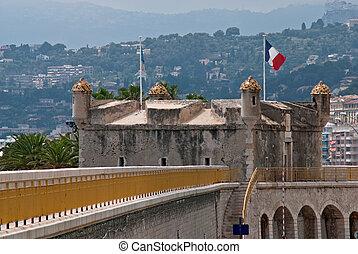 Bastion in old port of Menton. Azure coast. France