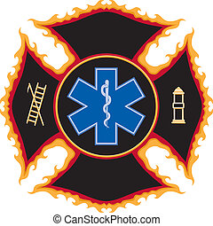 Flaming Fire Rescue Symbol - Illustration of a flaming fire...