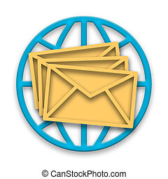 Correspondence - Mail messages in envelopes with blue globe...