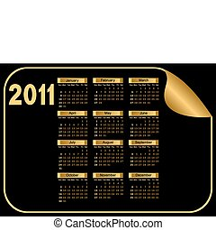 Dark Calendar - Calendar for 2011 It is executed in gold and...