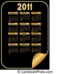 Black Calendar. - Calendar for 2011. It is executed in gold...