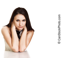 Portrait of beautiful young woman posing isolated on white background