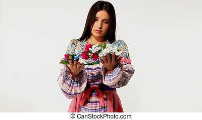 girl in traditional russian costume