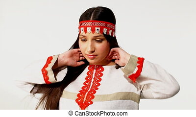 Young girl in traditional russian