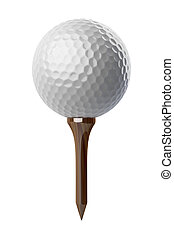 Golf ball on tee - 3d Golf ball on tee on white background