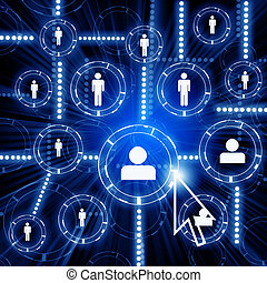 model of social network - human models connected together in...