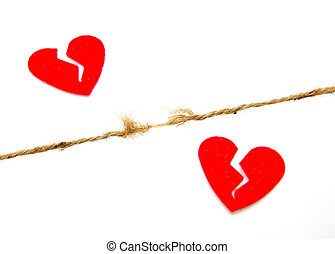 piece of string about to brreak and red broken hearts