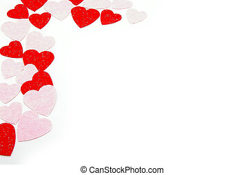 red and pink hearts border pattern, on white