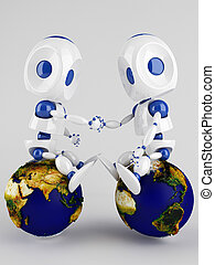 world peace concept - two 3d robots holding their hands...