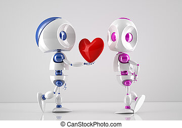 robots in love - robot offering his heart to its lover