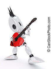 awesome robot rock star playing a heart shaped guitar -...
